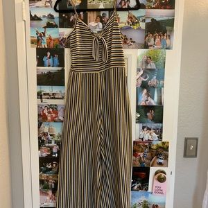 Forever 21 Other - yellow, black, and white tie front jumpsuit